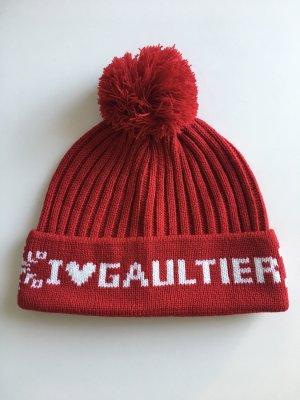 Jean Paul Gaultier Bobble Hat carmine-natural white