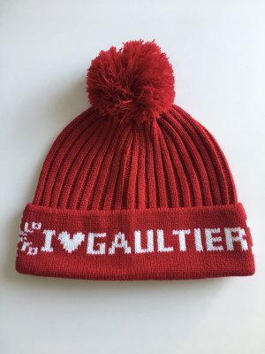 Jean Paul Gaultier Gorro con borla blanco-rojo oscuro