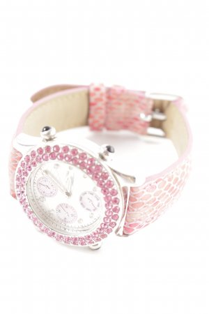 Jean Pierre Analoguhr pink-weiß Animalmuster Casual-Look