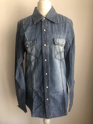 Jeansowa koszula niebieski-ciemnoniebieski