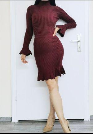 Jeanne Lanvin super hochwertig Strick Wolle Cashmere Midikleid Midirock Set