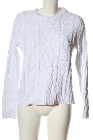 Jeanne Pierre Gehaakte trui wit kabel steek casual uitstraling
