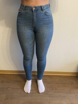 Bershka Jeansy z wysokim stanem niebieski-jasnoniebieski