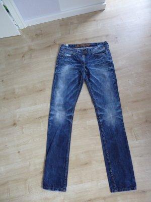 Timezone Jeans vita bassa blu neon-blu Cotone
