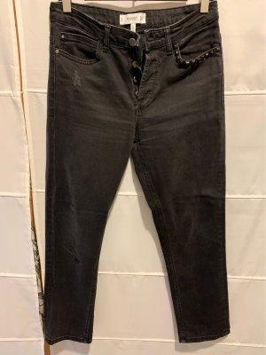 Mango Denim & Tees Jeansy z prostymi nogawkami czarny Bawełna