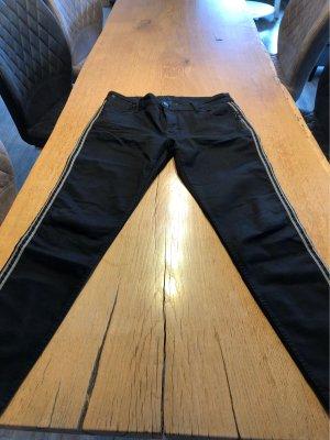 Blue Fire Jeans a sigaretta nero-oro
