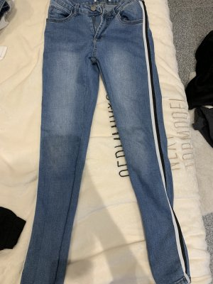 Hoge taille jeans wit-blauw