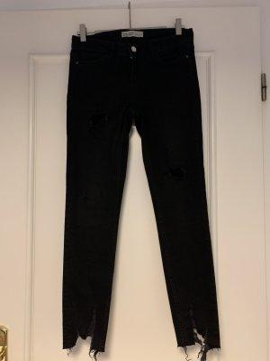 Zara Basic Jeansy ze stretchu czarny