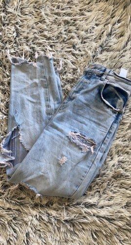 Bershka High Waist Jeans white-azure
