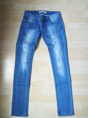 Pantalone a sigaretta azzurro-azzurro