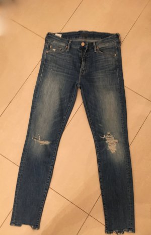 Mother Slim Jeans steel blue mixture fibre