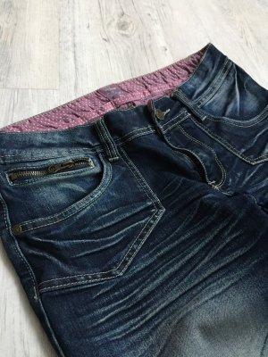 3/4 Length Jeans dark blue-light grey