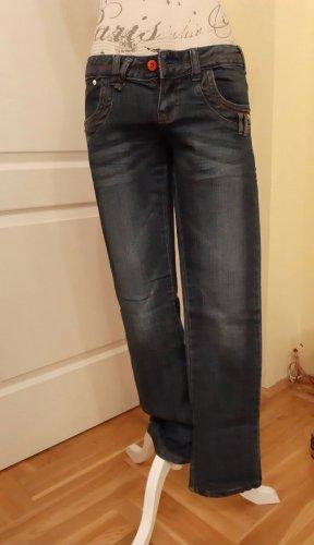 Low Rise Jeans steel blue cotton