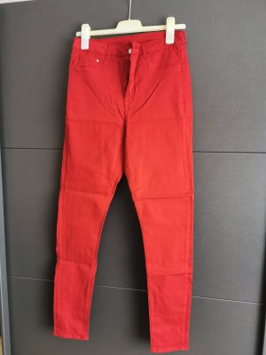 Hoge taille jeans rood