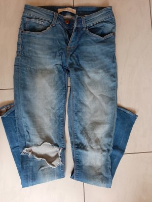 Zara Basic Stretch broek lichtblauw