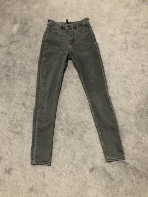 H&M Wortel jeans donkergrijs-antraciet