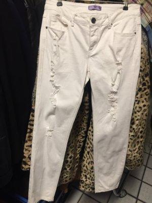 Jeans 5 pocket in weiss mit destroyed Elementen - ohne Gebrauchsspuren
