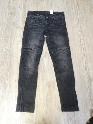 Jeans 7/8 H&M Skinny Low Waist Ankle 27 S Bikerstyle schwarz grau