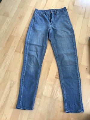 H&M Vaquero de talle alto azul acero