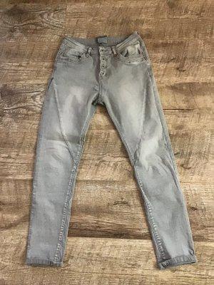 Jeans stretch argenté coton