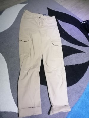 H&M Spodnie z wysokim stanem beżowy