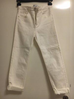 Zara Spodnie typu boyfriend biały