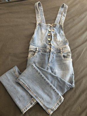 Jeans met bovenstuk blauw-staalblauw
