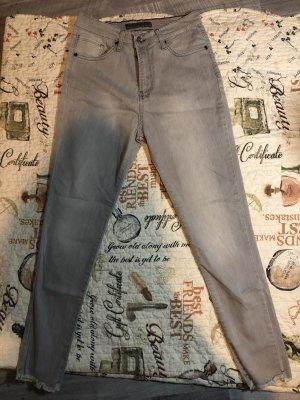 Jeans a vita alta grigio chiaro