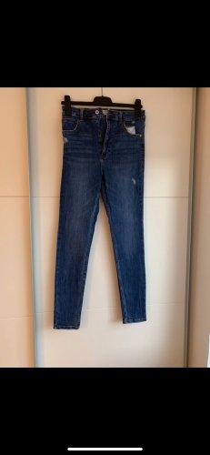 Bershka Jeans a vita alta blu scuro