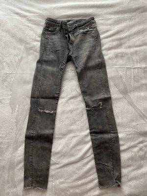 Zara High Waist Jeans light grey-grey