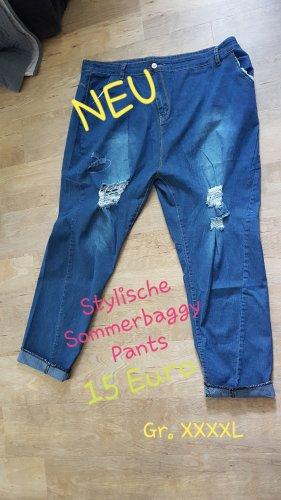 Workowate jeansy niebieski Bawełna