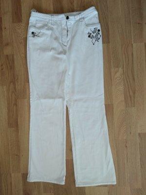 Basler Jeansy z prostymi nogawkami biały Bawełna
