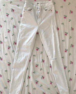 Bershka Jeans a vita alta bianco