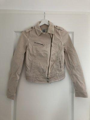Jeans Bikerjacke von Zara in beige, selten getragen!