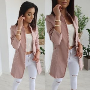 Blazer in jeans rosa antico-rosa pallido