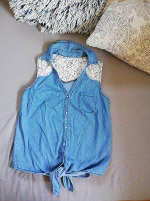 Jeans-Bluse gemustert