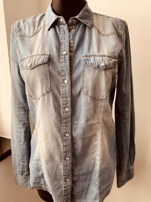 Jeans Bluse Hemd GR M mit Perlmutt Druckknöpfen