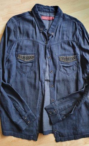 Jeans Bluse Hemd mit Perlen Verzierung langarm Freeman T Porter Gr 40 dunkelblau