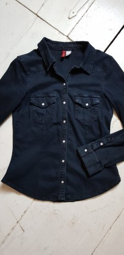 H&M Divided Blusa denim blu scuro Cotone
