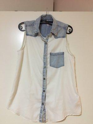 Jeans Bluse kurze Ärmel