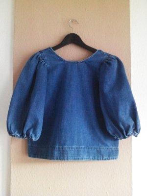 Zara Blusa denim blu Cotone
