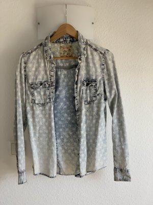 Jeans Bluse mit Herz Design