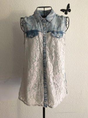 Janina Blouse en jean blanc-bleu