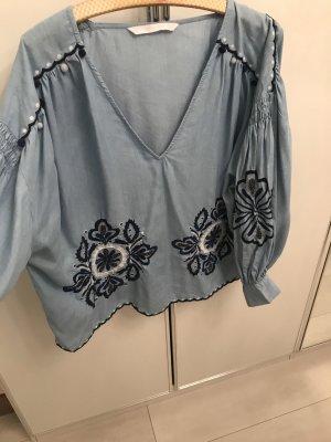 Zara T-shirt col en V bleu azur