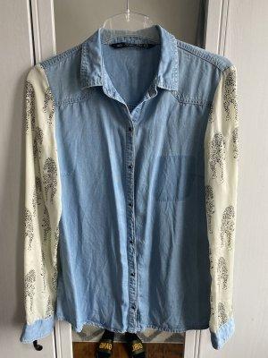 Zara Trafaluc Blouse en jean crème-bleu acier