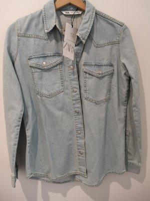 Zara Bluzka jeansowa jasnoniebieski