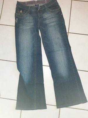 Jeans flare bleu foncé-bleu cadet coton