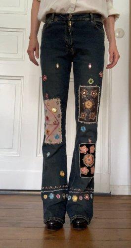 Boot Cut Jeans dark blue cotton