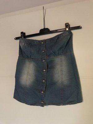 Jeans-Bustier mit Glitzersteinen