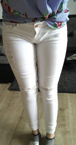 Jeans a vita alta bianco